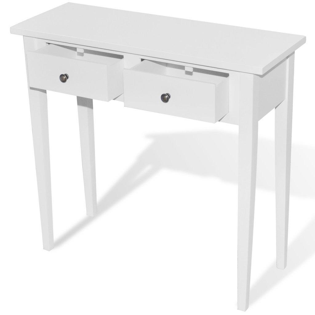 Anself Konsole Konsolentisch Holztisch Beistelltisch aus Kiefernholz mit Schubladen 79 x 30 x 74 cm Weiß