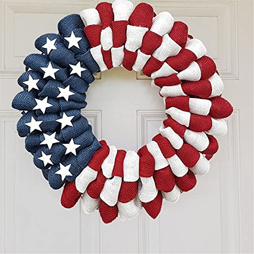 Patriotic Wreath US Patriotic Memorial Wreath for Window Independence Day Wreath, Decor Outdoor Hanging Garland Wreath Door Decoration Door Wreath Independence Day Sign