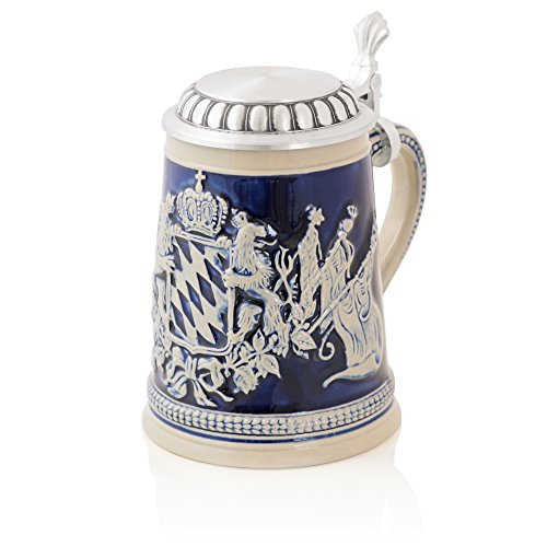 Stein Beer History (German Beer Stein Lions with flags | Traditional Bavarian Beer Mug with Metal Lid | 0.5 liter (1 pt.) | blue | Made in Germany)