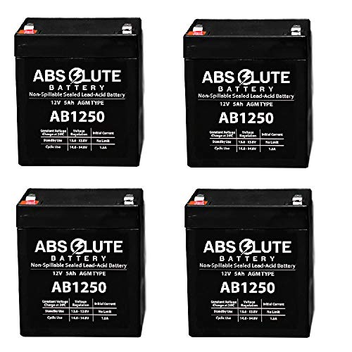 - 4 Pack New AB1250 12V 5AH SLA Replacement Battery Tandy/Radio Shack 23-289A