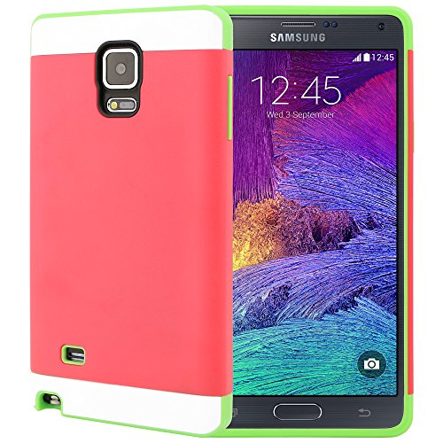 Galaxy Note 4 Case, CellJoy [Vivid Armor] (Hot Pink / Lime Green) Slim Fit Armor Hybrid Case For Samsung Galaxy Note 4 IV N910 Dual Protection Hard Cover with TPU **Shockproof**