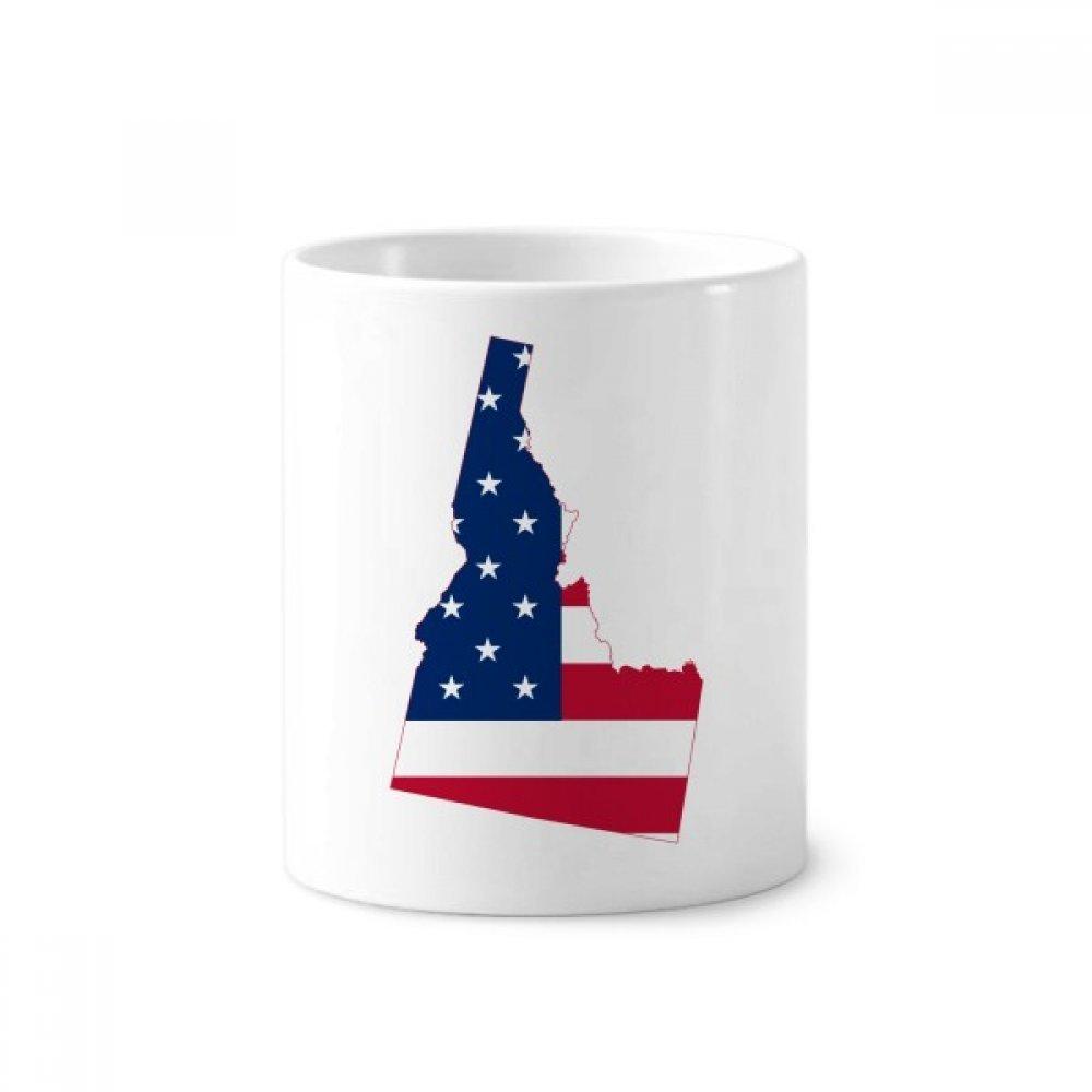 Idaho America Map Stars Stripes Flag Toothbrush Pen Holder Mug White Ceramic Cup 12oz