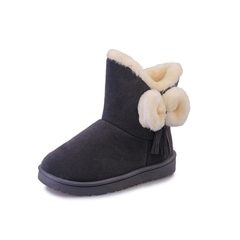 Bowknot Warm Women Flats Shoes Snow Women Boots Autumn Winter Shoeski) (US 6.5 Grey)