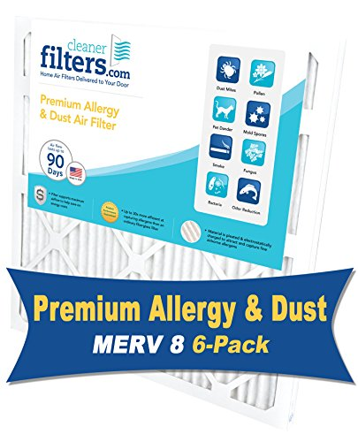 Cleaner Filters 18x24x1 Air Filter, Pleated High Efficiency Allergy Furnace Filters for Home or Office with MERV 8 Rating (6 Pack)