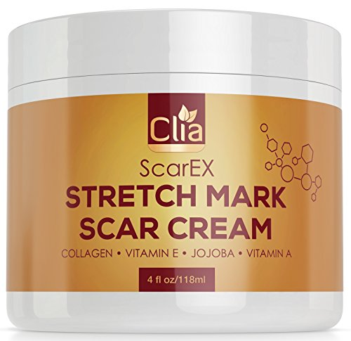 Clia Stretch Mark Cream 4oz - Helps Remove and Prevent New And Old Stretch Marks and Scars, best Formula For Pregnant And Nursing ()