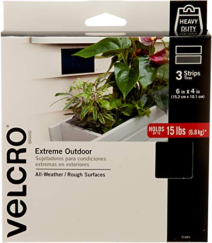 VELCRO Brand - Industrial Strength Extreme Outdoor | Heavy Duty, Superior Holding Power on Rough Surfaces | Strips – 6in x 4in | Black