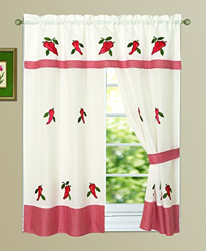 All American Collection New 3pc Attached Embroidered Kitchen Curtain Set 60