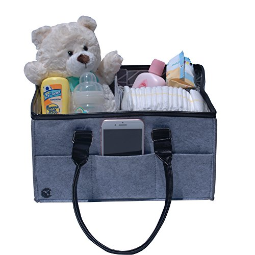 Baby Diaper Caddy Felt Bag Organizer - Great for Nursery Accessories! by CGLOBAL