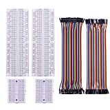 Yahboom Breadboard Multicolored Dupont Wire Jumper Wires 40pin M-F, 40pin M-M, 2PCS 830 Point Solderless Prototype PCB Board, 2PCS 170 Tie-Points Bread Board Ribbon Cables Kit for Arduino