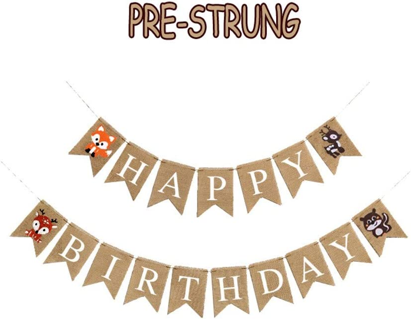 Lemon House Woodland Themed Happy Birthday Banner, Woodland Creatures Forest Animal Friends Banner, Baby Shower Party Supplies, Woodland Creatures Themed Birthday Party Decorations, For Baby Shower Party Supplies Decorations, Woodland Theme Gender Reveal Banner, Pre-Strung Banner