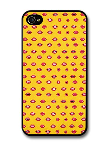 Kiss Lips Pattern Cool Fashion Beauty new Design Style Babes Red and Yellow coque pour iPhone 4 4S