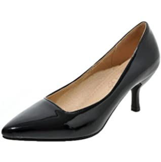 23837af87f8 AgooLar Women s Patent Leather Pull-On Closed-Toe Kitten-Heels Solid Court  Shoes