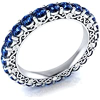 Saengthong 925 Silver Jewelry Round Cut Blue Sapphire Women Elegant Wedding Ring Size 6-10 (6)