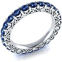 Saengthong 925 Silver Jewelry Round Cut Blue Sapphire Women Elegant Wedding Ring Size 6-10 (6)