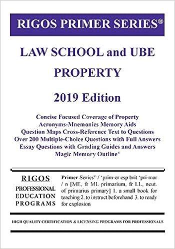 Primer Series Law School and UBE Property Primer (Rigos Primer