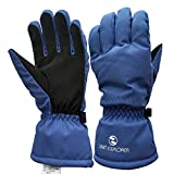 Limit Explorer Durable Waterproof Cold Weather Cycling Hiking Gloves, Sweat Wicking and Warm (Blue, Medium)