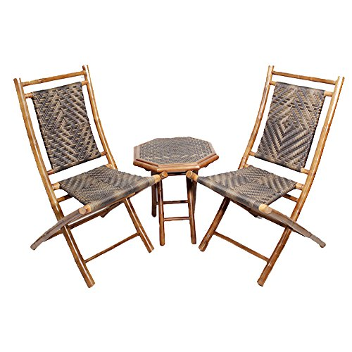 Bistro Island Light (Heather Ann Creations 3-Piece Bamboo Bistro Set with Diamond Weave, Brown and Dark/Light Brown)