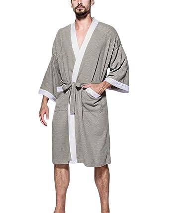 Albornoz para Unisex Waffle Super Suave Pijama,Túnica Mujer Batas Hombre Ropa de Dormir Robe