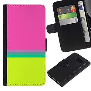 KLONGSHOP / Tirón de la caja Cartera de cuero con ranuras para tarjetas - Teal Yellow Lines Abstract Clean Bright - Samsung Galaxy S6 SM-G920