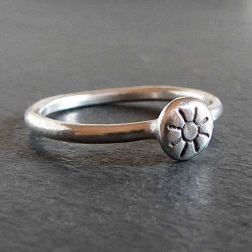 Sterling silver primitive sun stacking ring/Artisan jewelry by Moragh Chisholm