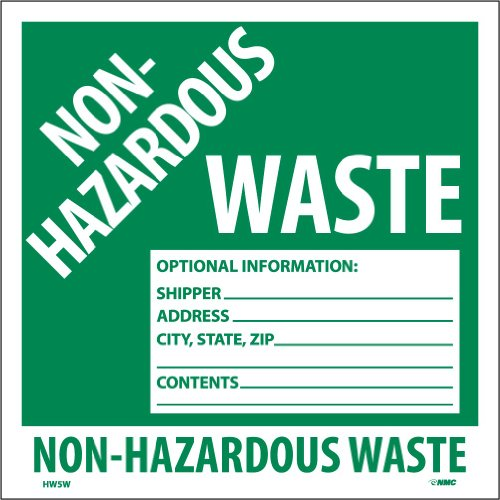 "NMC HW5W Hazardous Waste Container Label, ""NON-HAZARDOUS WASTE"", 6"" Width x 6"" Height, Pressure Sensitive Vinyl, White on Green (Pack of 25)"