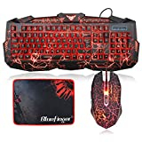 Crack Backlit Gaming Keyboard and Mouse Combo,BlueFinger 114 Keys USB Wired Mechanical Feeling Keyboard,3 Color Blue/Red/Purple LED Backlit,Keyboard Crack Gaming Mouse Pad for Computer Gamer Office