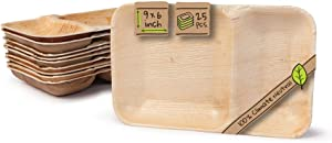 """Naturally Chic Compostable Biodegradable Disposable Plates - Palm Leaf 9 x 6"""" Rectangle, Compartment Plate Dinnerware Set - Eco Friendly Alternative - Party, Wedding, Event Plates (25 Pack)"""