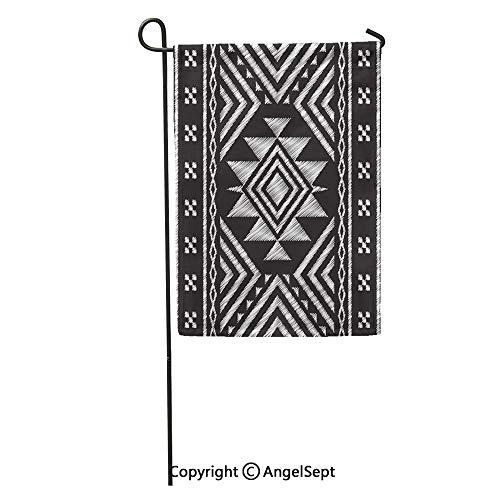 AngelSept Durable Creative Design 18x27in Garden Flag Pattern Ethnic Neckline Doodle Tribal Aztec Geometric Indian Modern Stripe Home Yard House Decor Outdoor Stand