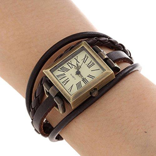 Reloj Rectangular Cuarzo Pulsera Cuero PU Números Romanos Mujer Hombre Marrón: Amazon.es: Relojes