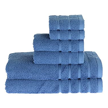 PROMIC 100% Cotton Bath Towel Set ,6 Piece Includes 2 Bath Towels, 2 Hand Towels, and 2 Washcloths, Blue