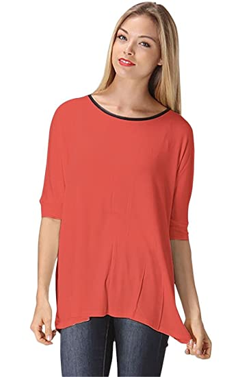 135780ff Coral Blouses for Women Loose Fit T Shirt Blouse Elbow Sleeve Tops for Women