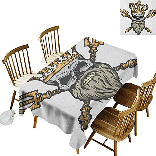 kangkaishi Oil-Resistant and Durable Long Tablecloth Kitchen Available Ruler Skull Head with Gray Beard Crossed Royal Scepter Cartoon Seemed Image W54 x L108 Inch Golden and Pale Grey