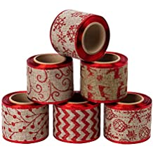 LaRibbons Christmas Holiday Burlap Ribbon - 6 Rolls Glitter Burlap Ribbon with Wired Edge for Craft Projects, DIY, Decoration, Gift Wrap - 2.5 inch x 5 Yard Each Roll