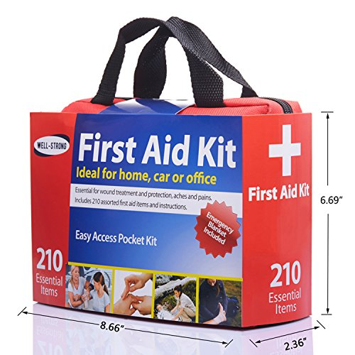 WELL-STRONG-First-Aid-Kit-210-Pieces-with-Durable-and-Compact-Canvas-Bag-for-Home-Car-School-Office-Sports-Travel-Survival-Adventure-Marine-Outdoor-Hiking-and-Camping