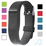 Fitbit Best Deals - Fitbit Flex Adjustable Wristband - Fitbit Flex Silicone Replacement Secure Band with Chrome Watch Clasp and Fastener Buckle - Fix the Tracker Fall Off Problem (Black)