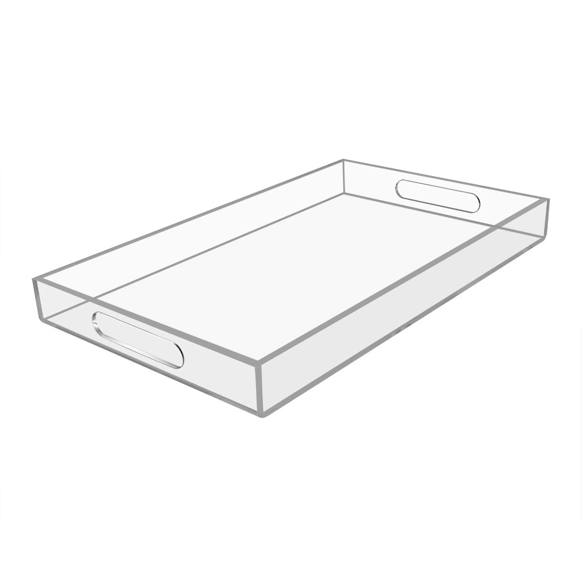 NIUBEE Acrylic Serving Tray 12''x20'' -Spill Proof- Clear Decorative Tray Organiser for Ottoman Coffee Table Countertop with Handles