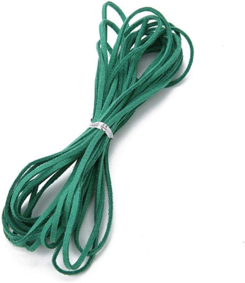 TKG 5m 3 mm en Mekaing DIY imitación Cuero Plano cordón de Cuero Anchura Cuerda de la Secuencia de Cuero Multicolores,Verde Oscuro,3 mm 5 Metros