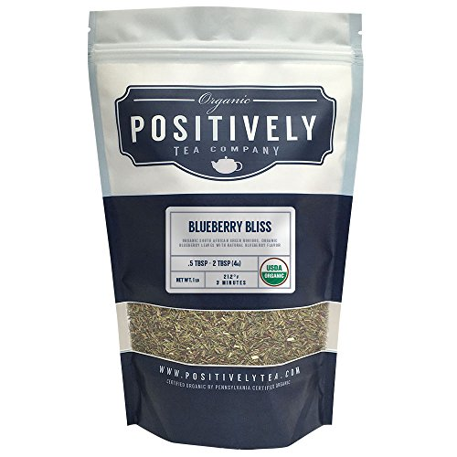 Positively Tea Company, Organic Blueberry Bliss Green Rooibos, Rooibos Tea, Loose Leaf, USDA Organic, 1 Pound - Bags Tea Leaf Blueberry