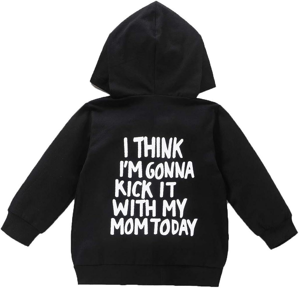 Baby Girls Boys Long Sleeve Zipper Hoodies Sweatshirt Toddler Kids Black Pullover Sweater Tops Winter Fall Outfits (Mom Pullover Hoodies, 2-3T)