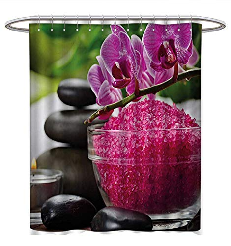 (Anhuthree Spa Shower Curtains Fabric Black Zen Stone Triplets with Asian Originated Orchids and Fuchsia Salt Bathroom Decor Sets with Hooks W72 x L84 Fuchsia Black and Green)