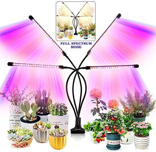 실내 식물을 위한 성장 조명 - 업그레이드 된 버전 80 LED 램프 풀 스펙트럼 및 레드 블루 스펙트럼 3912H 타이머 10 디머블 레벨 조절 가능한 구즈넥 3 스위치 모드 / 실내 식물을 위한 성장 조명 - 업그레이드 된 버전 80 LED 램프 풀 스펙트럼 및...