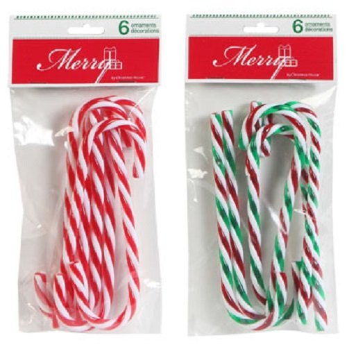 Christmas House Plastic Candy Cane Ornaments, 2 (6-ct. Packs, 1 Red & 1 Green Striped) (6 Candy Cane Ornaments)