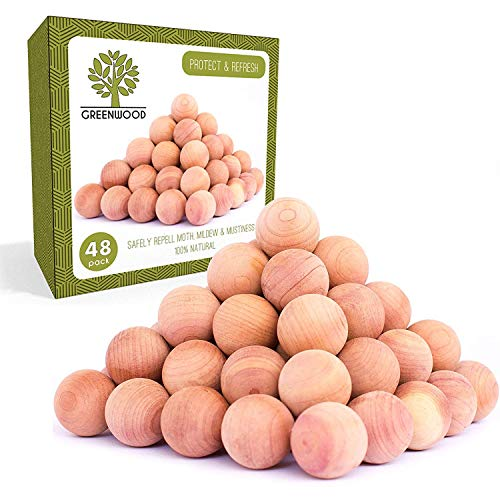 Red Balls Coats - Powerful 100% Natural Cedar Balls for Closet Storage | Best Clothes Storage Protection Odor Eliminator - Refresh & Protect with Cedar Aromatic Oil | Natural Aromatic Red Cedar Wooden Balls, 48 Pack