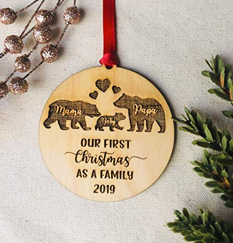 Mama Papa Baby Bear Christmas Ornament 2019 Our First...