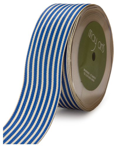May Arts 1-1/2-Inch Wide Ribbon, Royal Blue Grosgrain Stripe -