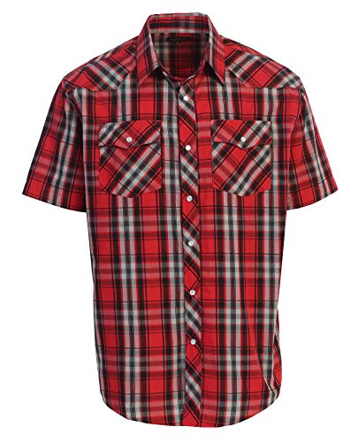 (Gioberti Men's Plaid Western Shirt, Red/Black/Gray, Large)