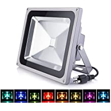 LOFTEK 50W Outdoor Security RGB LED Floodlight, High Powered RGB Color Change(16 Different Color Tones and Four modes), Spotlight