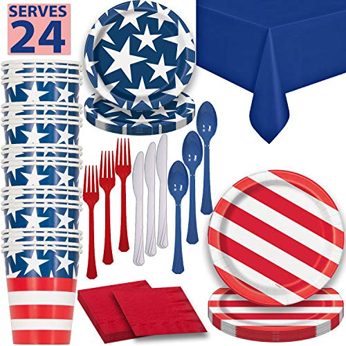 HeroFiber Disposable Paper Dinnerware for 24 - Patriotic - 2 Size Plates, Cups, Napkins , Cutlery (Spoons, Forks, Knives), and Tablecovers - Full Party Supply Pack -