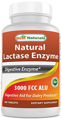 Best Naturals Fast Acting Lactase Enzyme Tablet, 3000 Fcc Alu, 180 Count