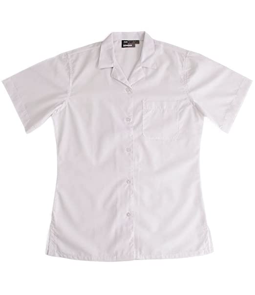 Zeco Quality Girls Generous Fit School Blouses Long White or Blue Revere Collar Short or 3//4 Length Sleeve